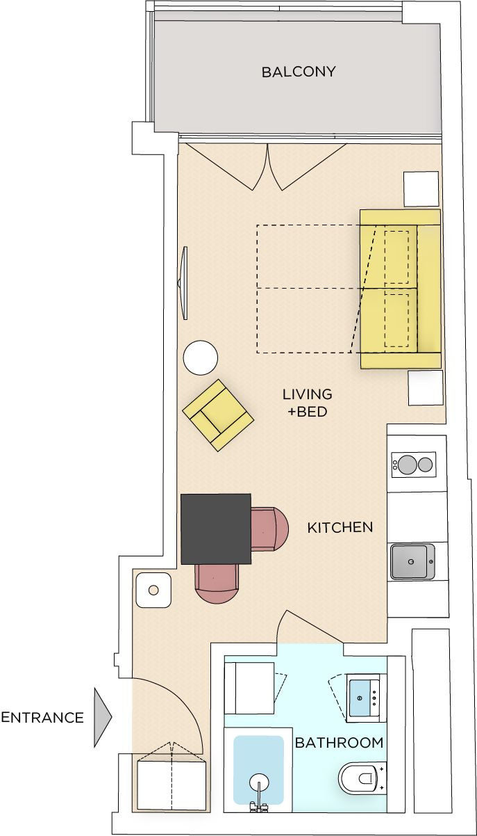 Studio - Small apartment to rent in Warsaw UPR-A-023-2