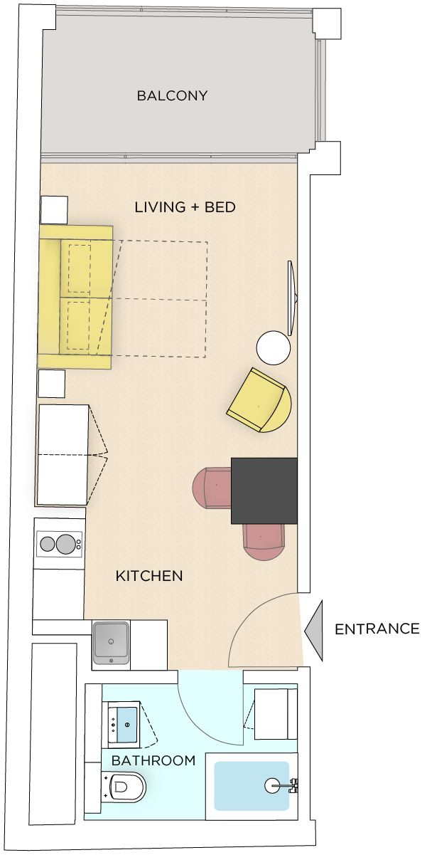 Studio - Small apartment to rent in Warsaw UPR-A-036-1